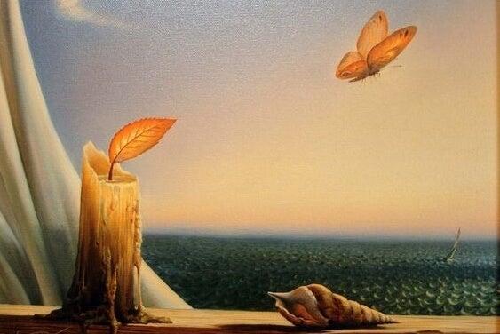窓辺のろうそくと蝶