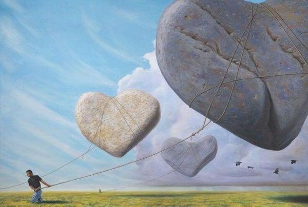 宙に浮くハート型の石