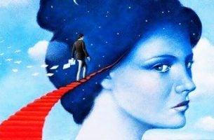 女性の頭へ続く階段
