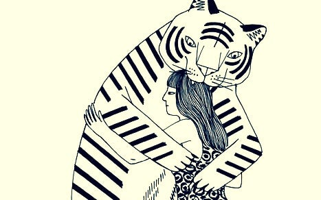 トラに食べられている女性