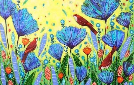 赤い鳥と青い花