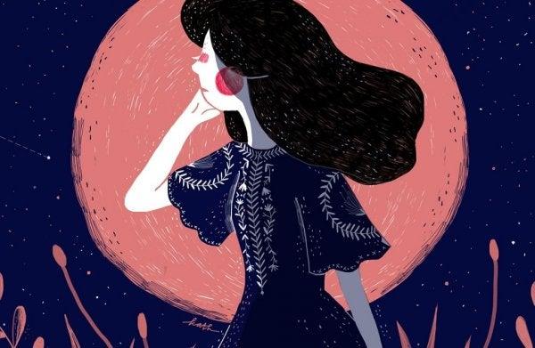 月夜に立つ女性