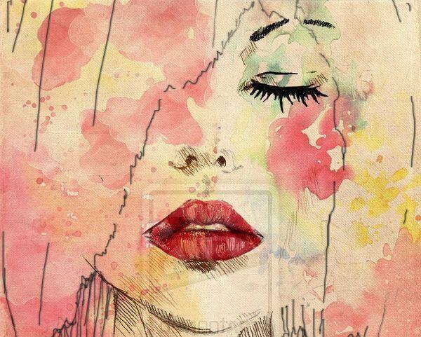 赤い口紅の女性の顔