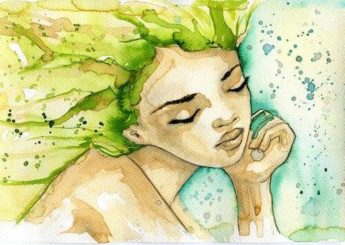 緑の髪の女性