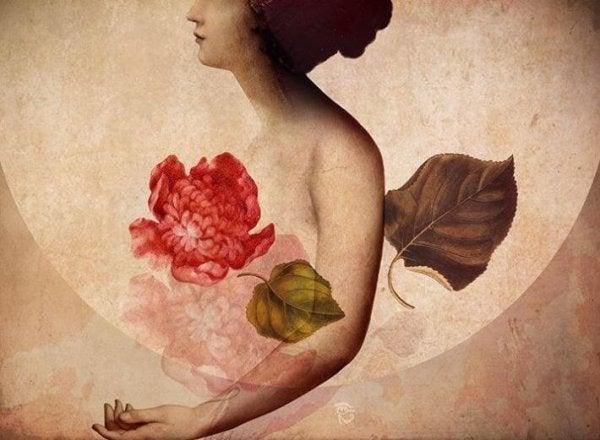 花と葉と女性