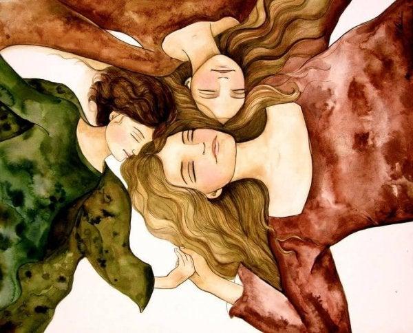 3人の眠る女性