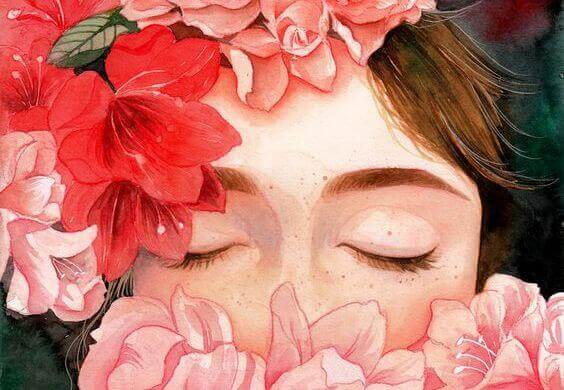花と女性の顔
