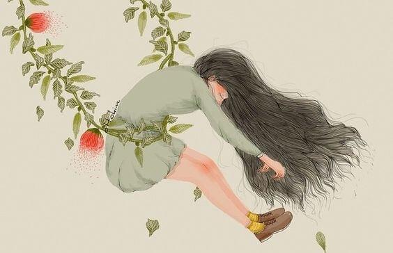 花と揺れる女の子