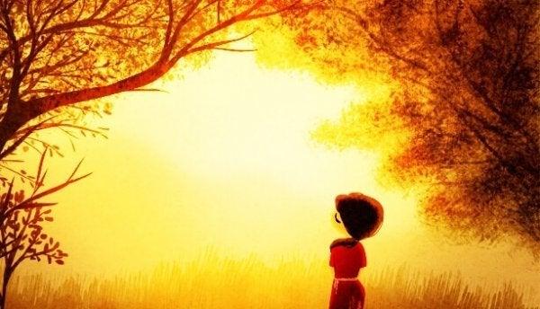 森の中にいる女の子