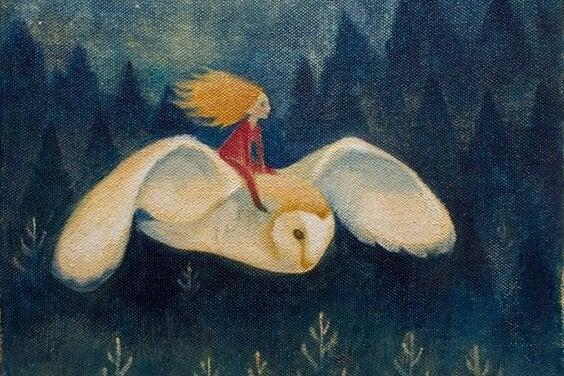 フクロウに乗る少女
