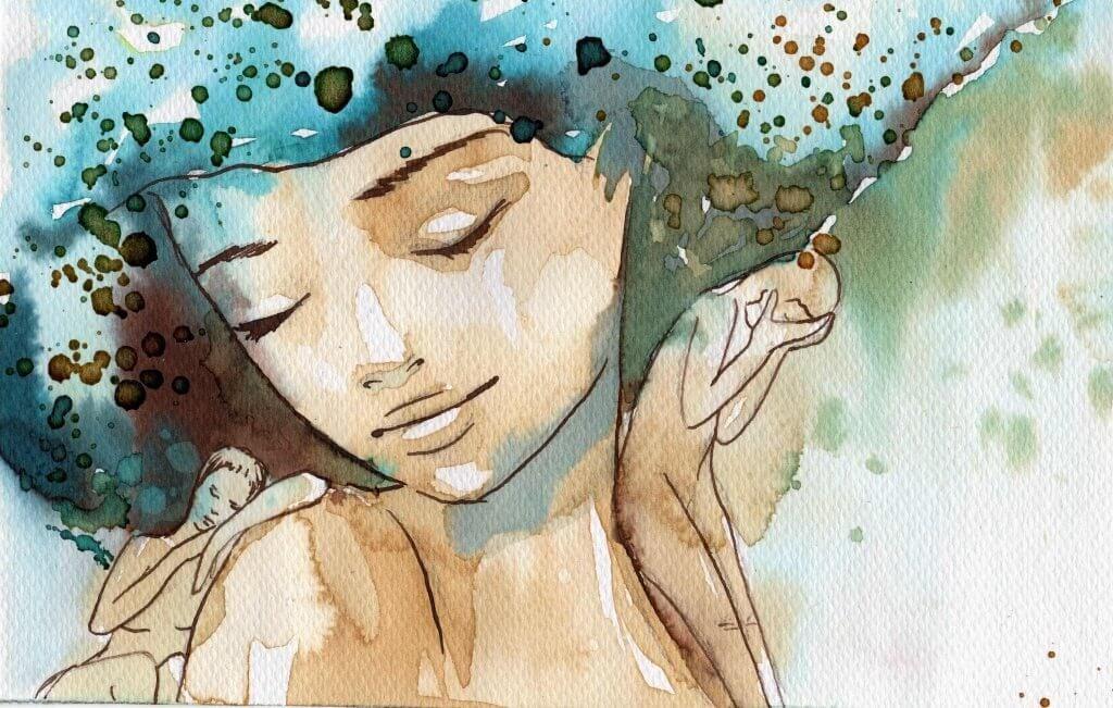 女性水彩画
