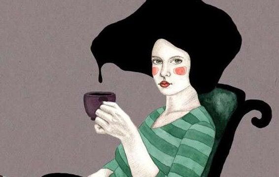 ティーカップを持った女性