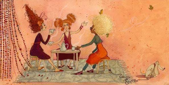 お茶する三人の少女