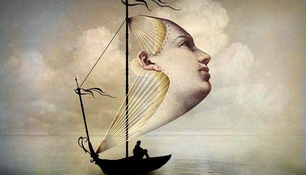 ボートの女性