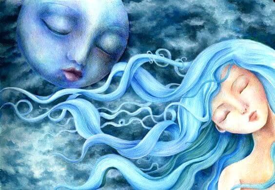 青い髪の女性と青い月