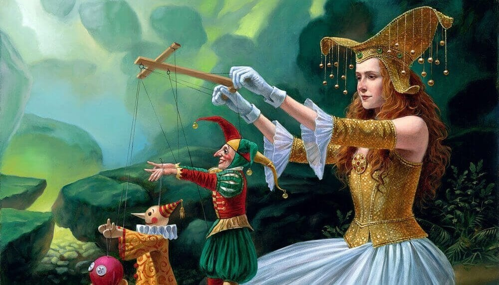 操り人形劇をする女性