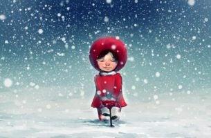 雪の中の女の子