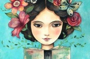 花と読書と少女