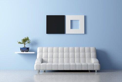 風水インテリアの白黒基調の家具