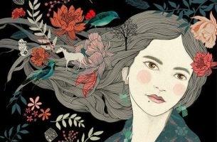 女性の髪に花
