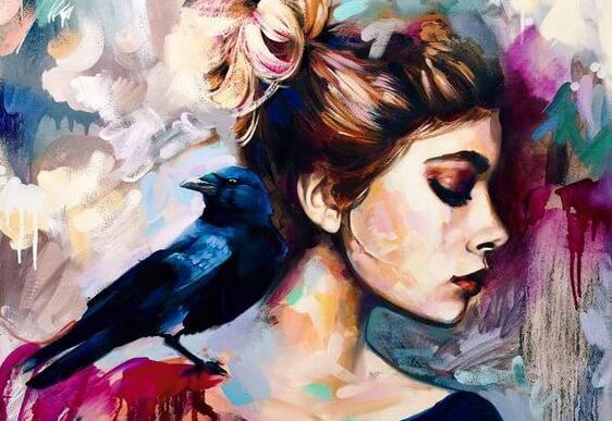 女性の方に鳥