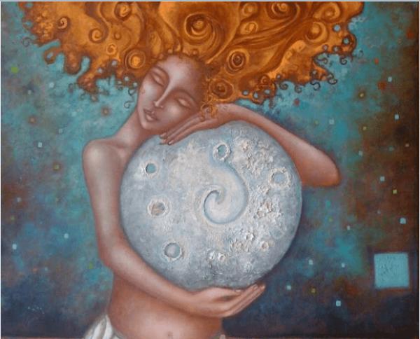 女性と大きな月