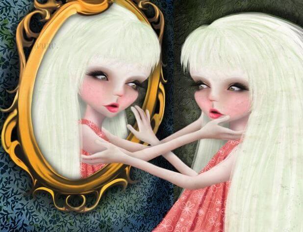 鏡で見つめ合う女性のイラスト