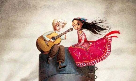 カップルとギター