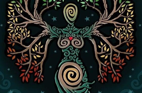 木の模様で描かれた女性