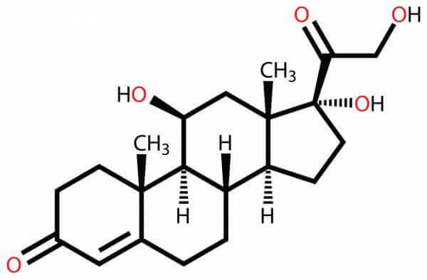 コルチゾールの化学式(白背景)