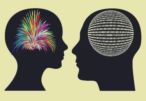 脳の違い-カラフルな爆発と数字の羅列