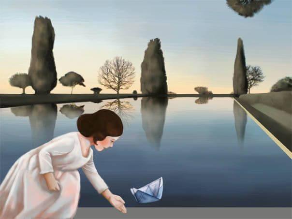 女の子と紙の船