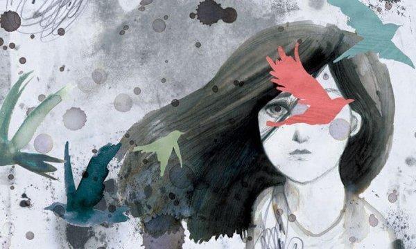 女の子と舞っている葉と鳥
