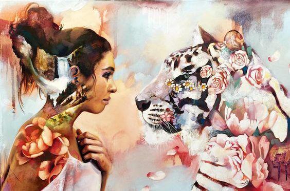 トラと女性