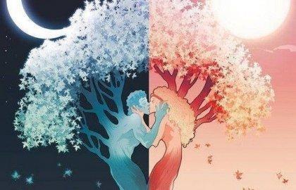 木の前のカップル