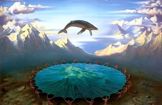 山の上でクジラが飛ぶ