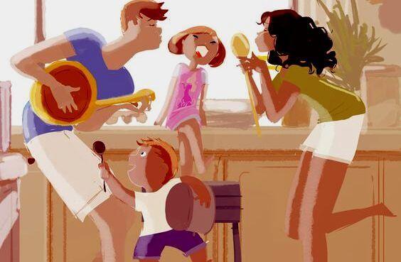 家族で歌う