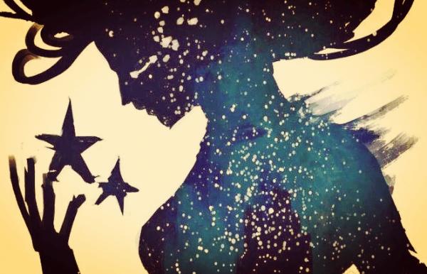 暗い星のシルエットの人