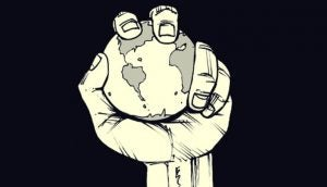 手の中に握る地球