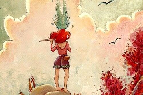 丘の上にいる少女が笛を吹いている