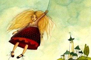少女が空を漂う