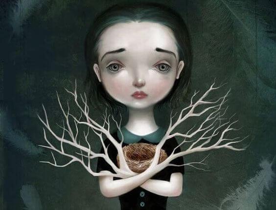 腕が枝の悲しい少女