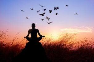 夕日の中での瞑想