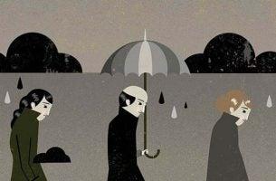 白黒の傘の絵