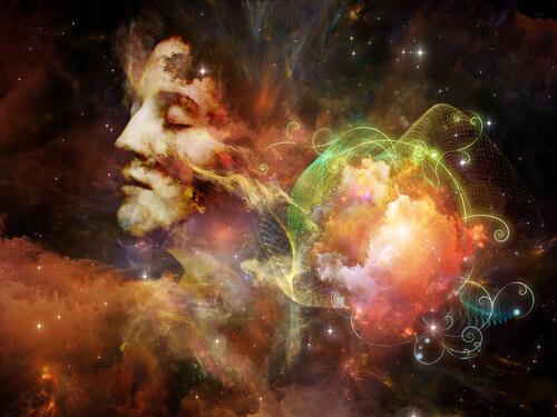 宇宙と女性の顔