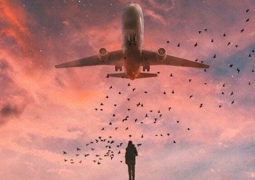 頭上の飛行機を見つめる男性