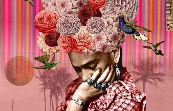 花の冠をかぶった人