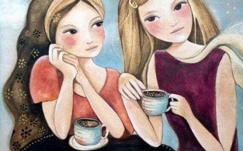 お茶をする二人