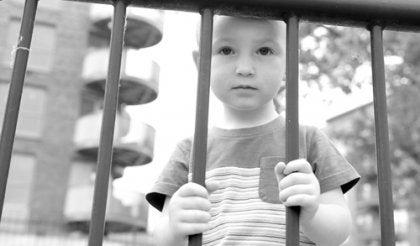 フェンスの向こうの子供