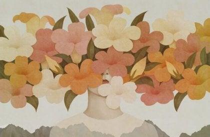 顔を覆う花
